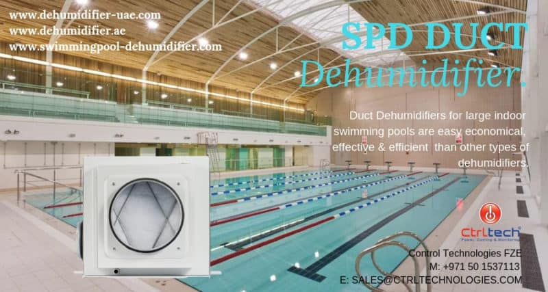Ducted dehumidifier for swimming pools.