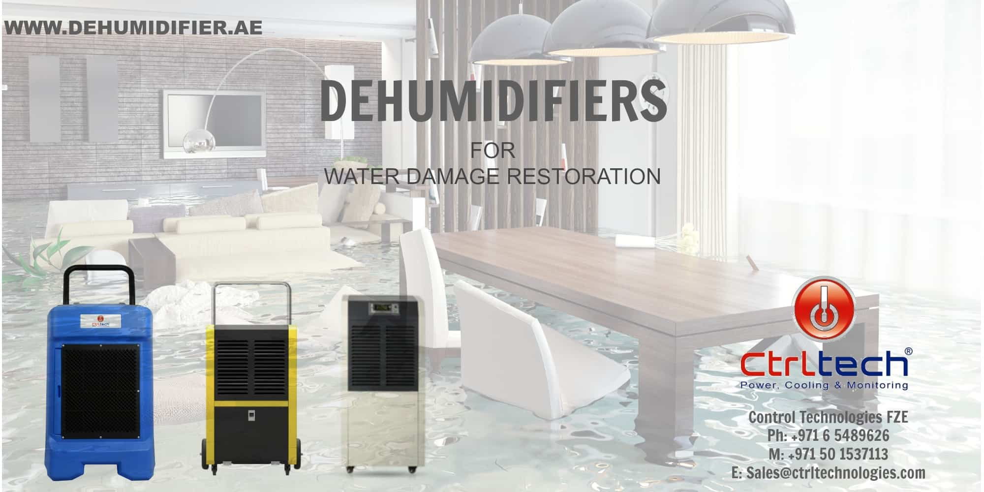 Dehumidifier and air movers for damage restoration.