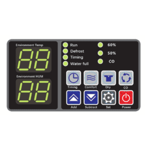 FSD-480L commercial dehumidifier control panel.