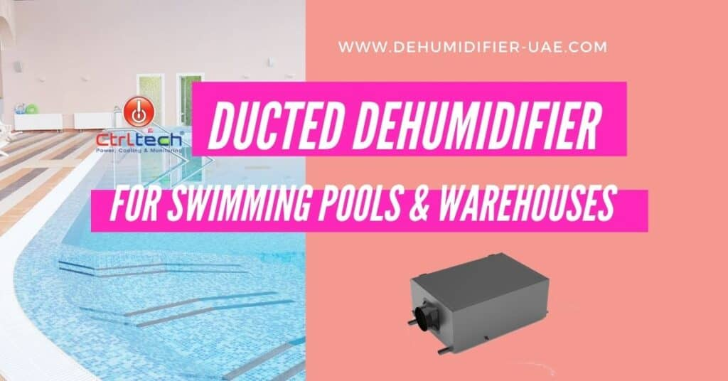 Inline ducted dehumidifier for indoor swimming pools.